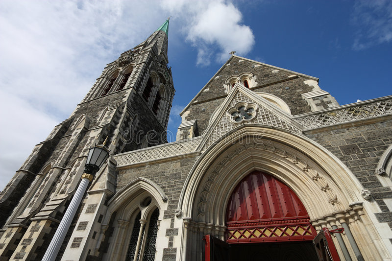 Christchurch. Anglican cathedral in , Canterbury, New Zealand royalty free stock photos