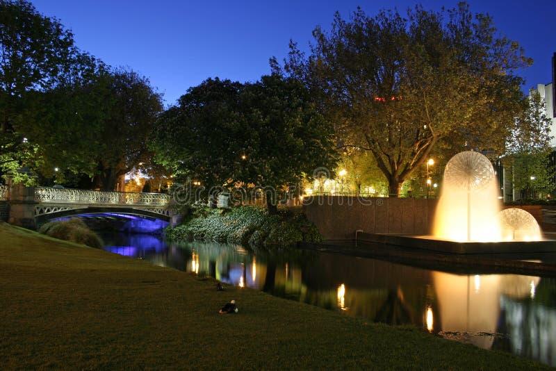 Christchurch bij nacht royalty-vrije stock foto's