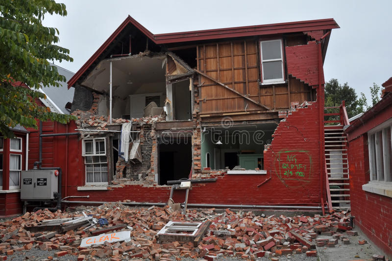 Christchurch Earthquake - Cranmer Square House stock photo