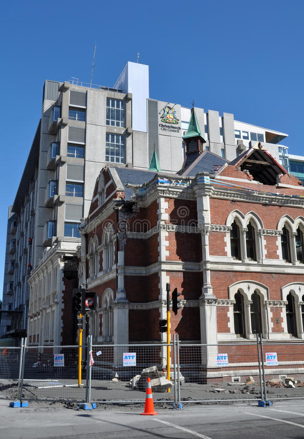 Christchurch Earthquake - Library Chambers. 09 March 2011 - Christchurch, New Zealand. The historic (built 1875) Library Chambers building on Cambridge Terrace stock image