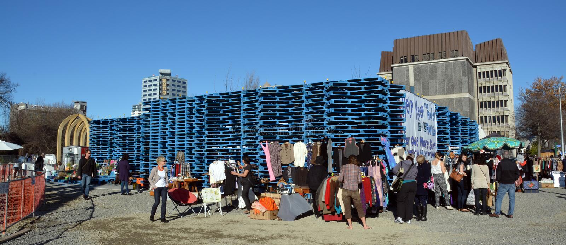 Christchurch Earthquake Rebuild - Gap Filler Pallet Pavilion. royalty free stock images