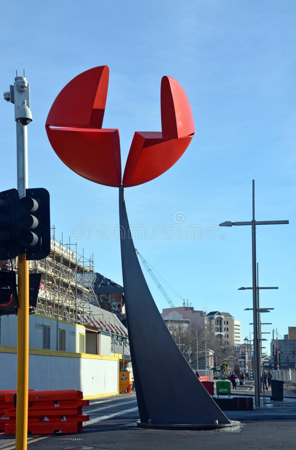 Christchurch Earthquake Rebuild - Nucleus Sculpture Untouched. royalty free stock image