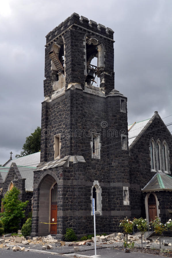 Download Christchurch Earthquake - St Marys Church Tower Editorial Photo - Image: 18477501