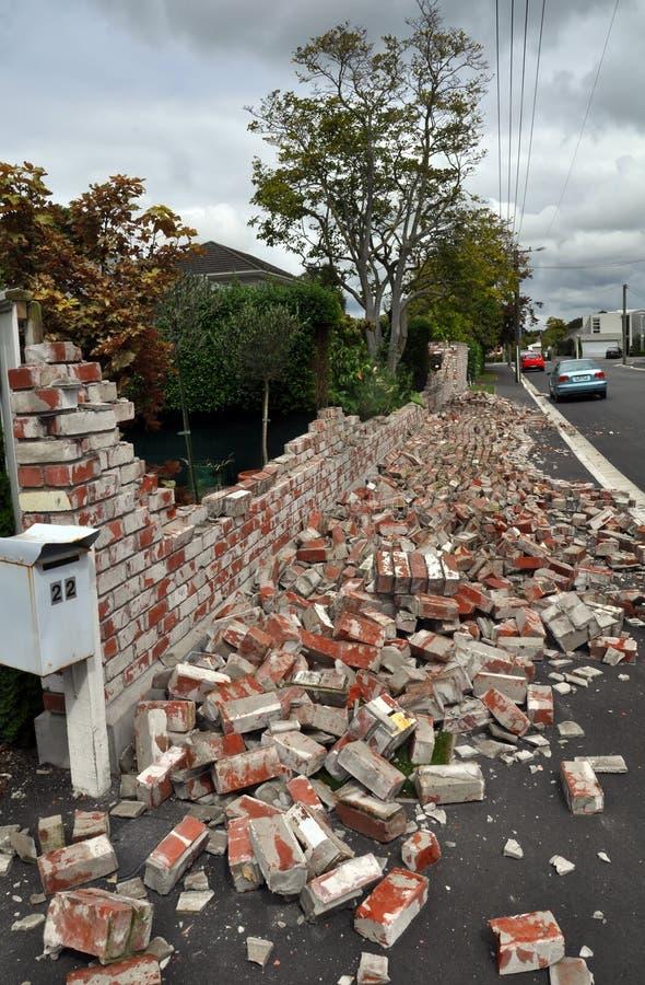 Christchurch Earthquake - Suburban Wall Collapses royalty free stock photos