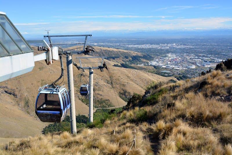 Christchurch gondol från bästa av Portet Hills, nyazeeländskt royaltyfri foto