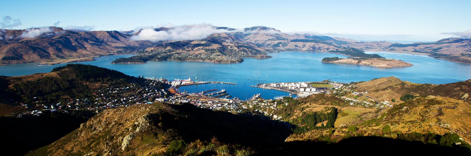 Christchurch Gondola View. A picturesque view from atop Christchurch Gondola on Lyttelton and Quail Island. The blue bays surrounded by hills and mountains is stock photography