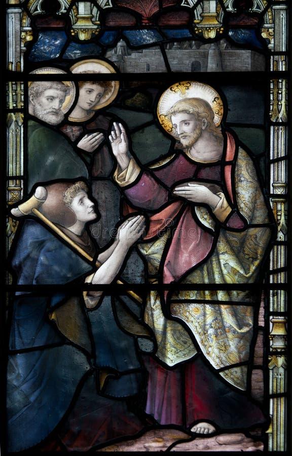 Christchurch-Kathedralen-Buntglas-Fenster stockfotografie