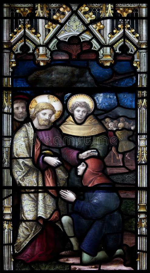 Christchurch-Kathedralen-Buntglas-Fenster stockfotos