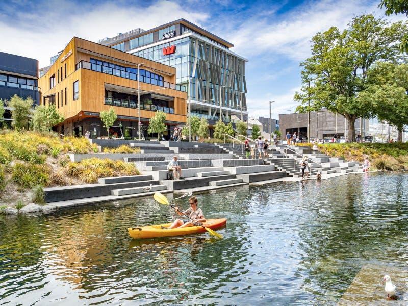 Christchurch, la Nuova Zelanda, fiume di Avon ed il terrazzo fotografie stock