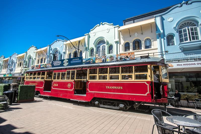 Christchurch, New Zealand - January 30 2018: Christchurch city center. Historic tram stock photography