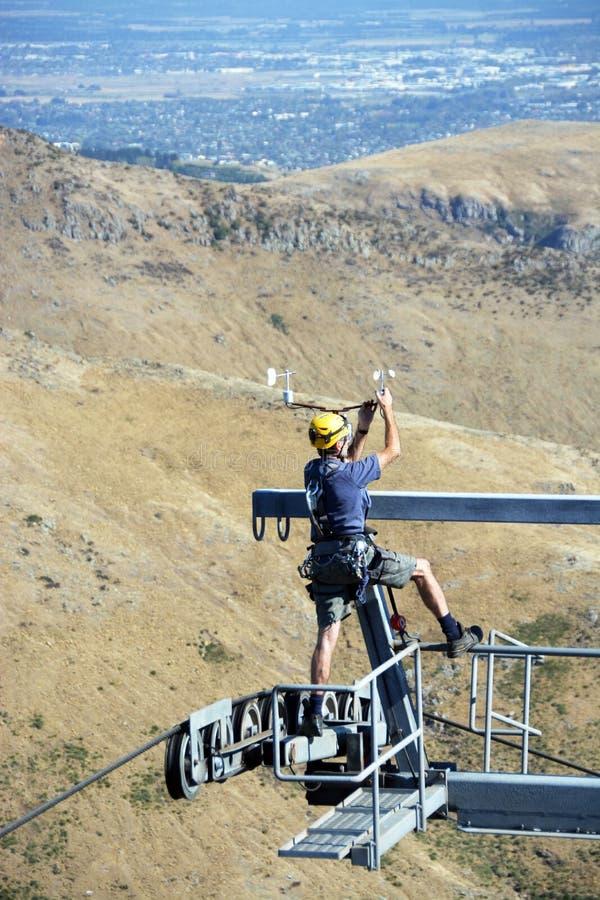 Dangerous Aerial Repair Work on the Christchurch Gondala. stock photography