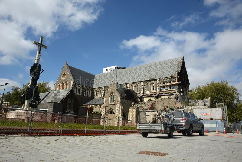 Maintenance continues on Christchurch cathedral royalty free stock photo