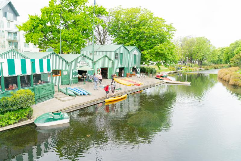 Punting on Avon green and white Antigua Boat Sheds royalty free stock photo