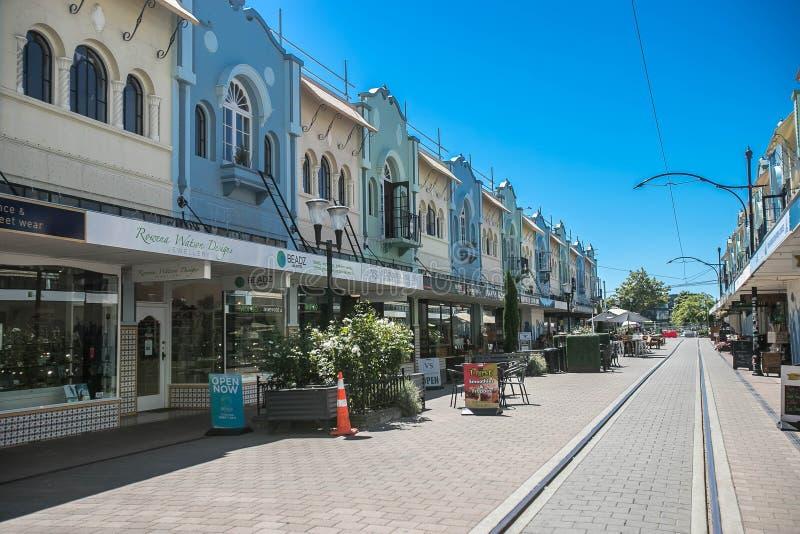 Christchurch, Nieuw Zeeland - Januari 30 2018: Het centrum van de Christchurchstad stock afbeeldingen
