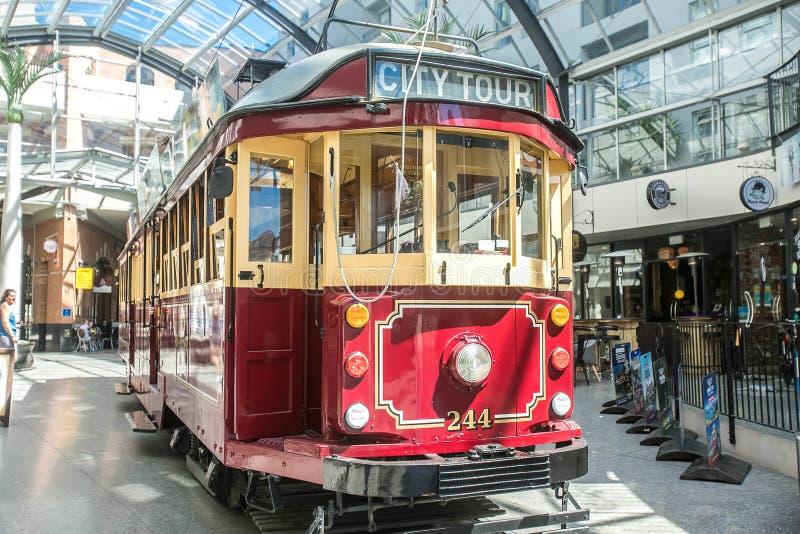 Christchurch, Nieuw Zeeland - Januari 30 2018: historische tram in Christchurch stock afbeelding