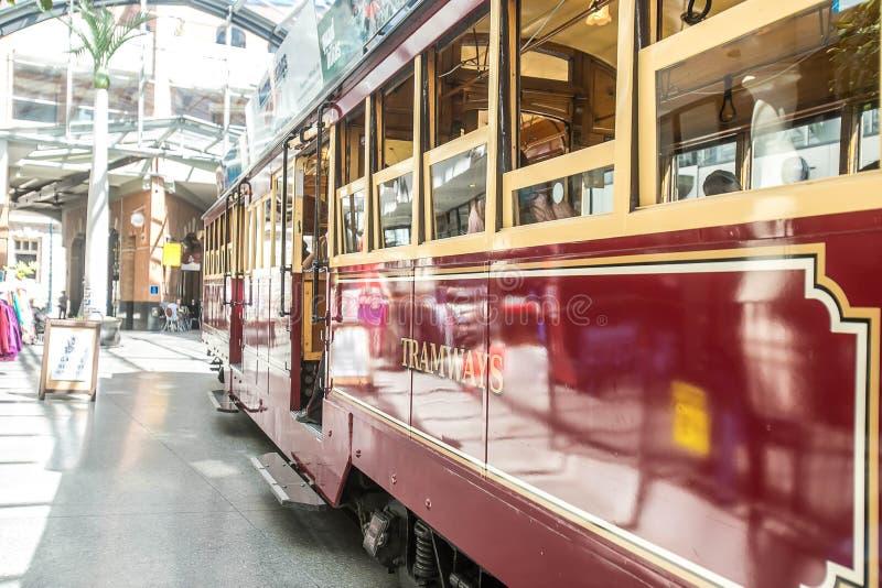 Christchurch, Nieuw Zeeland - Januari 30 2018: historische tram in Christchurch royalty-vrije stock afbeelding