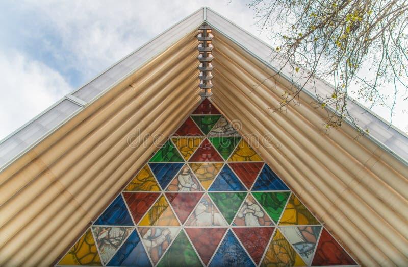 Christchurch, Nieuw Zeeland - oktober-01-2017: Het architectuurdak van Kartonkathedraal in Christchurch, Nieuw Zeeland stock foto