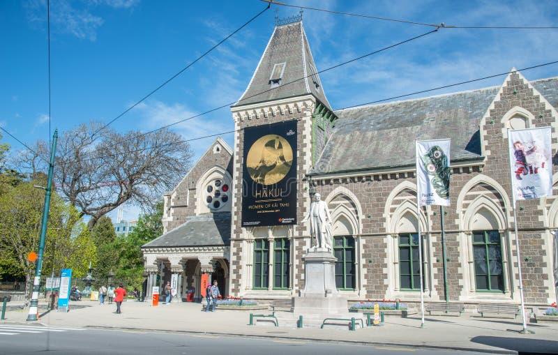 Christchurch, Nieuw Zeeland - oktober-02-2017: Standbeeld van William Rolleston buiten het Museum van Canterbury royalty-vrije stock foto