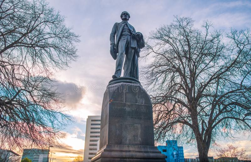 Christchurch, Nouvelle-Zélande - October-01-2017 : La statue de John Robert Godley images libres de droits