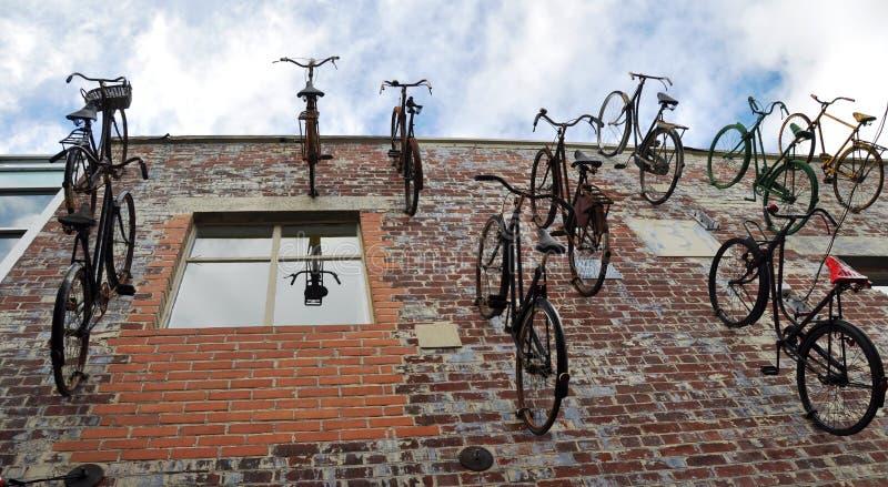 Christchurch Nova Zelândia - rebanho das bicicletas imagem de stock royalty free