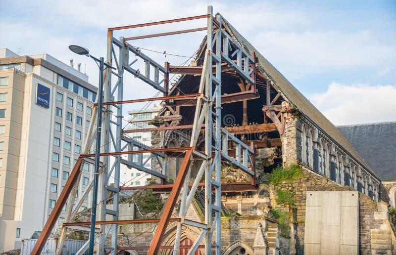 Christchurch, Nueva Zelanda - October-01-2017: Catedral anglicana de Christchurch una catedral icónica de la señal en centro de l fotografía de archivo libre de regalías