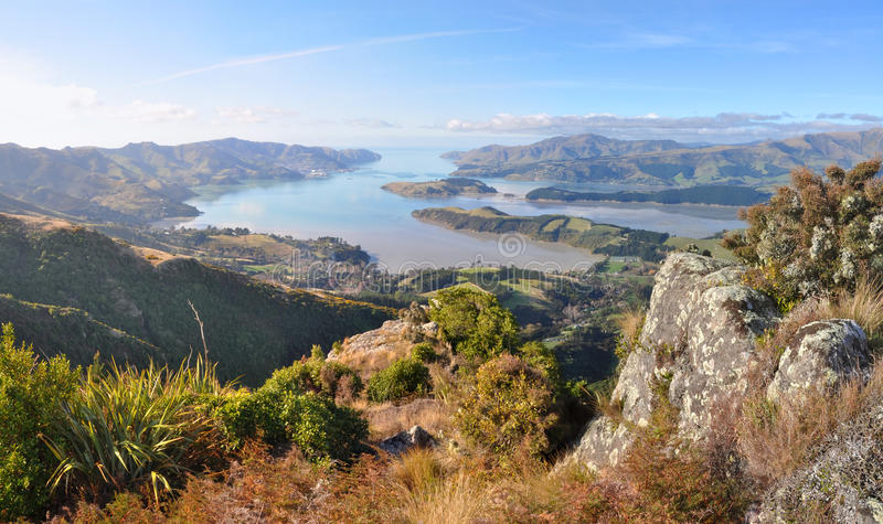 Christchurch Port Hills Panorama, New Zealand. A panoramic view of Lyttleton Harbour at low tide from the top of the Christchurch Port Hills, Canterbury, New stock photos