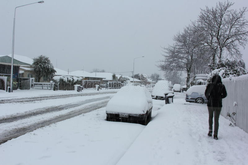 Christchurch Snowfall 2011. The heaviest snowfall that Christchurch has had in 20 years, since the great fall of 1992. Just months after the devastating stock image