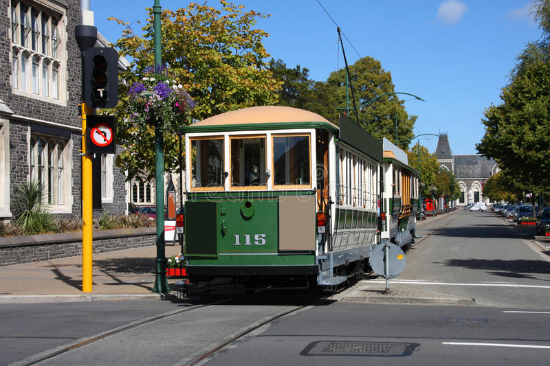 Christchurch tram. Famous symbol of Christchurch, New Zealand. Heritage tramway. Tourist attraction royalty free stock photography
