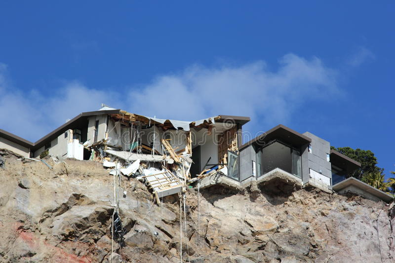 Christchurch Trzęsienia ziemi zniszczenie obraz stock