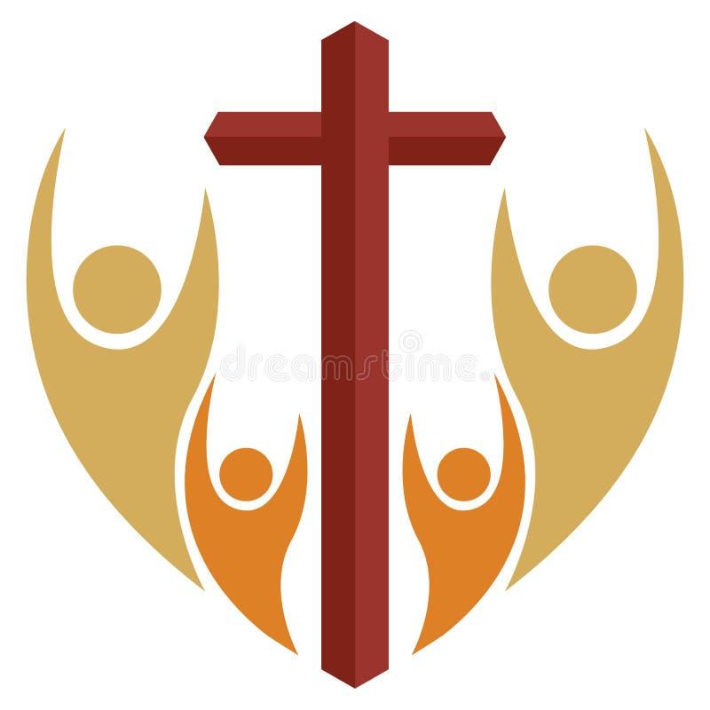 Christelijk gebed met dwarsembleem stock illustratie