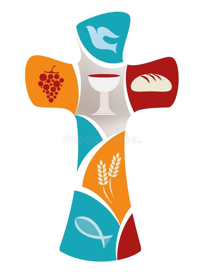 Christelijk kruis met dov, druif, miskelk, brood, oren van tarwe en vissen op kleurrijke achtergrond royalty-vrije illustratie