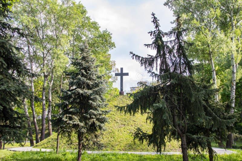 Christelijk kruis op een groene heuvelheuvel onder een bewolkte hemel stock fotografie