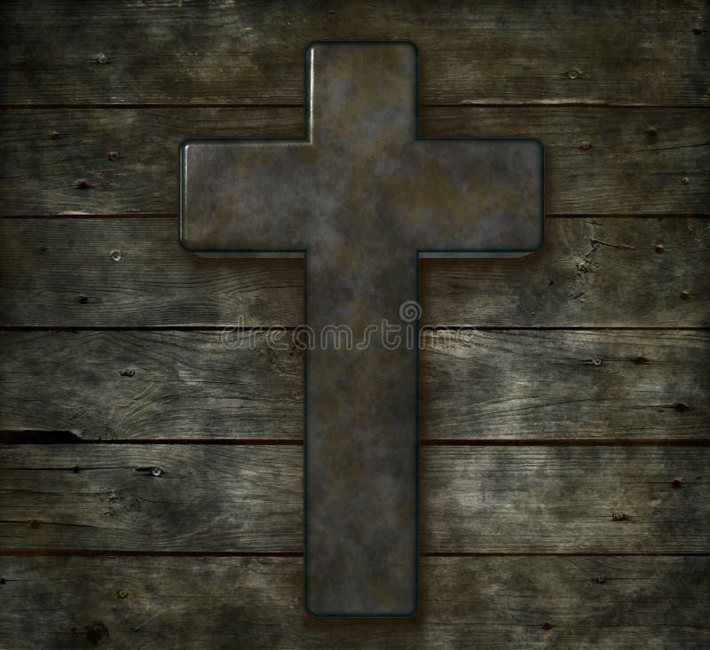 Christelijk kruis op hout royalty-vrije stock foto's