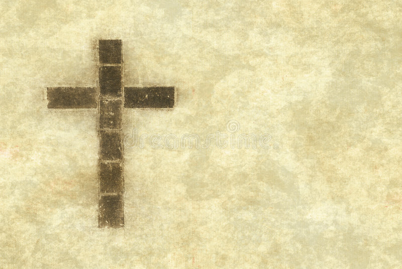 Christelijk kruis op perkament stock illustratie