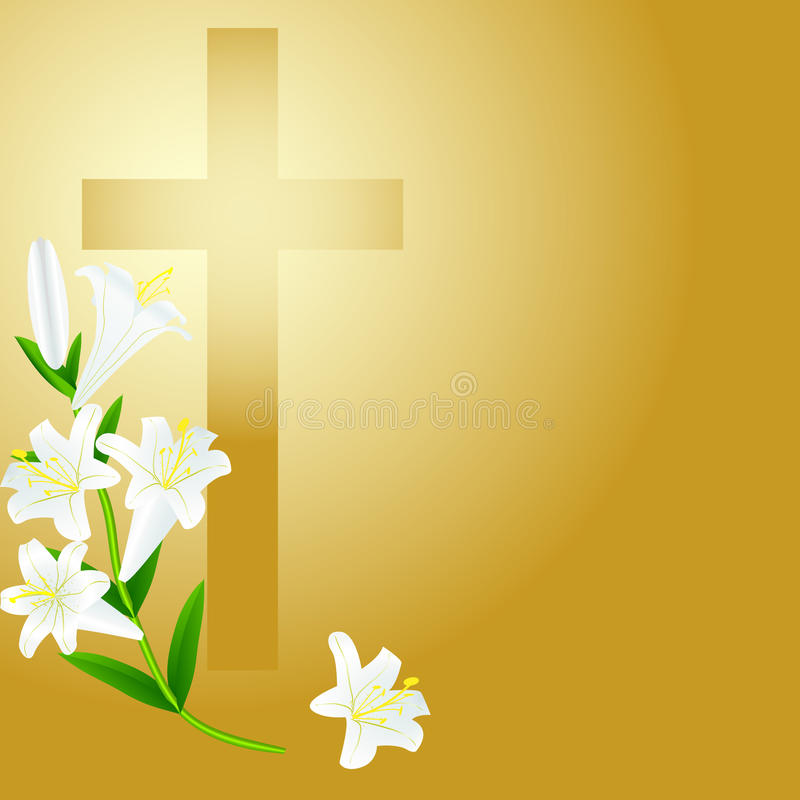 Christelijk kruis op zonsopgangachtergrond vector illustratie