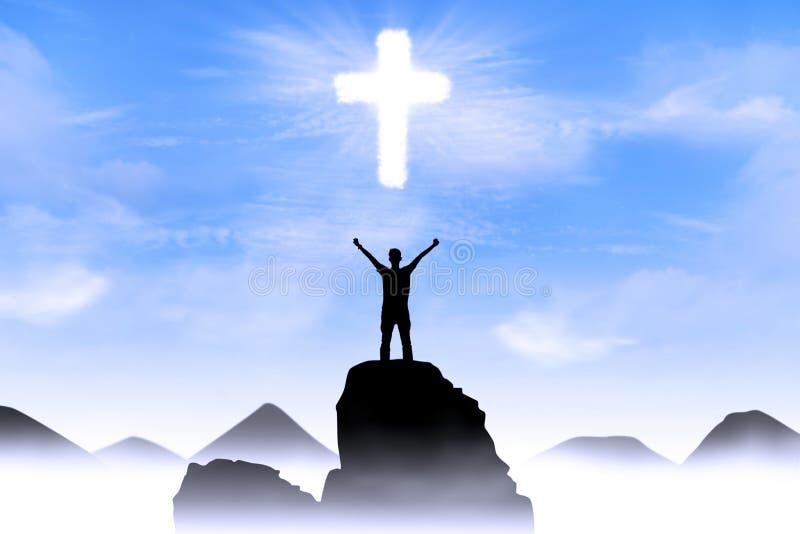 Christelijke achtergrond: De worshiping God van de mens stock afbeelding