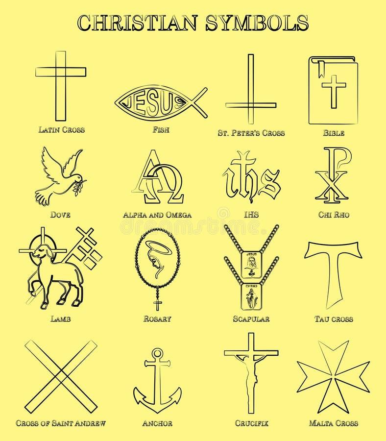 Christelijke die symbolen met overzicht als penseelstreken worden geplaatst vector illustratie