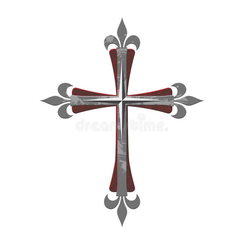 Christelijke druk Het Gotische Kruis van Jesus Christ stock illustratie
