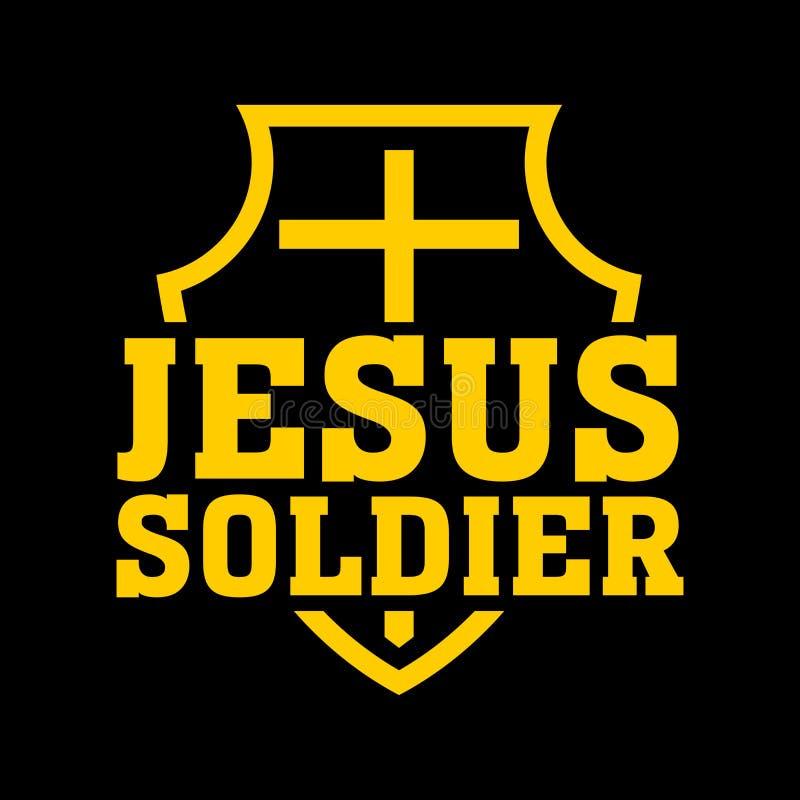 Christelijke druk Kruis op het schild De militair van Jesus vector illustratie