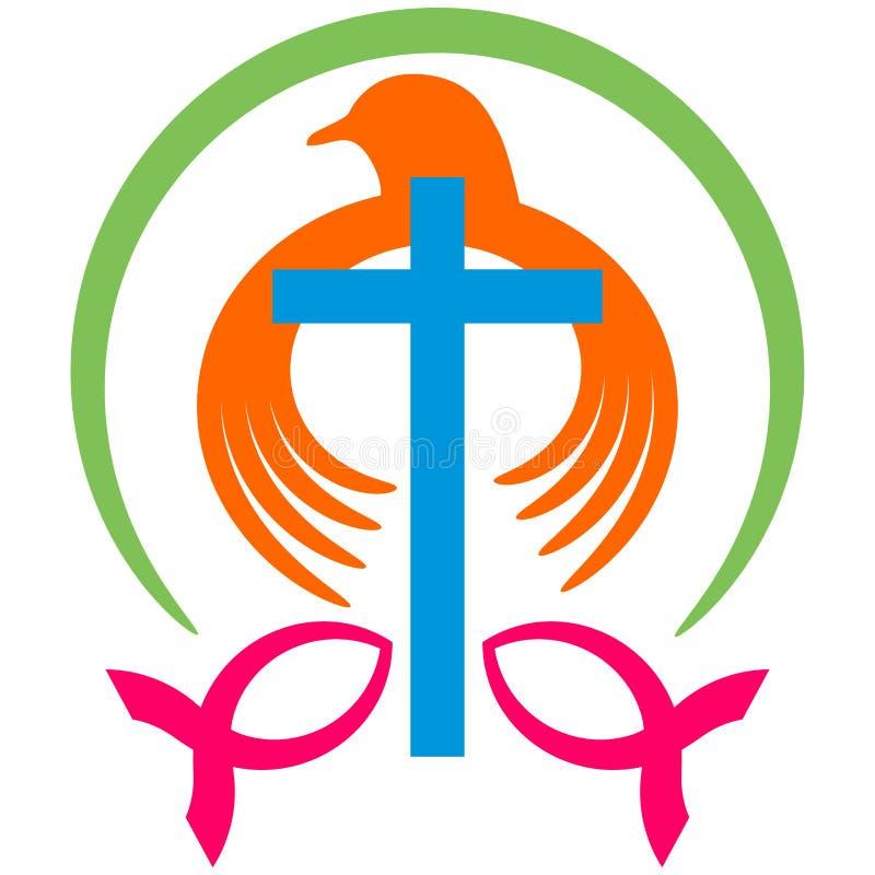 Christelijke duif met dwarsembleem stock illustratie