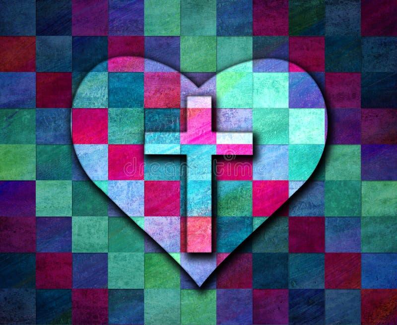 Christelijke dwars en een hart op een trillende schaakbord gevormde achtergrond vector illustratie
