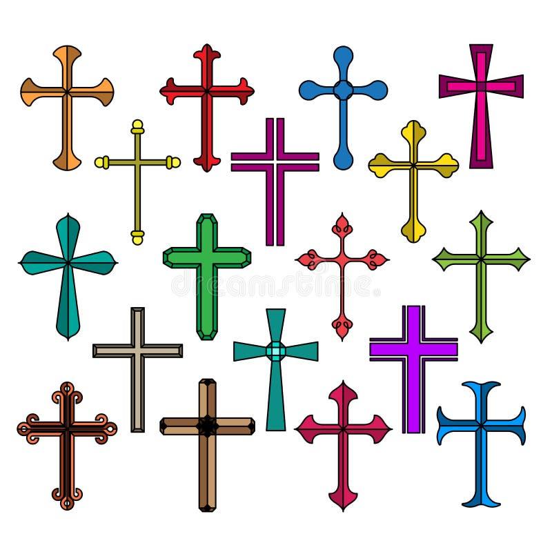 Christelijke dwarspictogrammen geplaatst die op witte achtergrond worden geïsoleerd stock illustratie