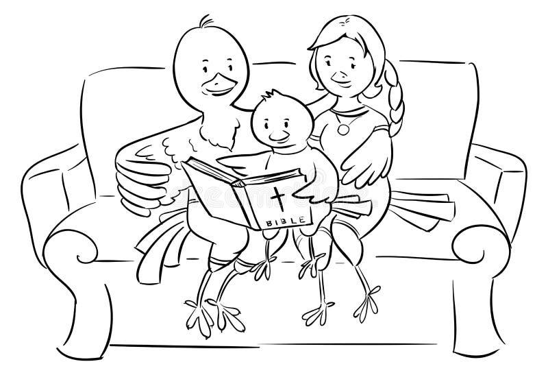 Christelijke familie die van vogels de Bijbel lezen - illustratio vector illustratie