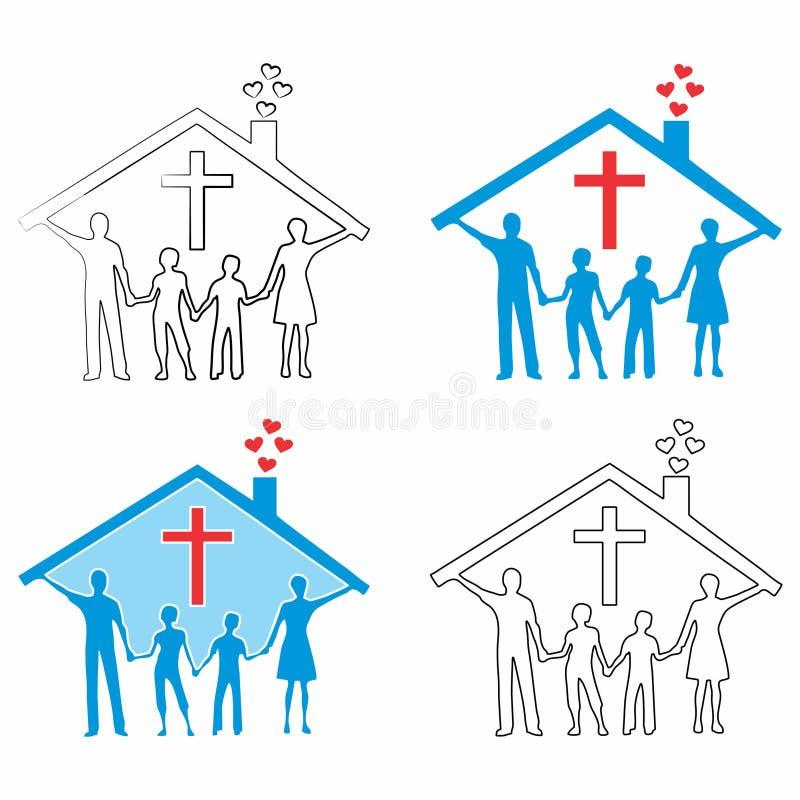 Christelijke familie Het overzicht en gekleurd vult royalty-vrije illustratie