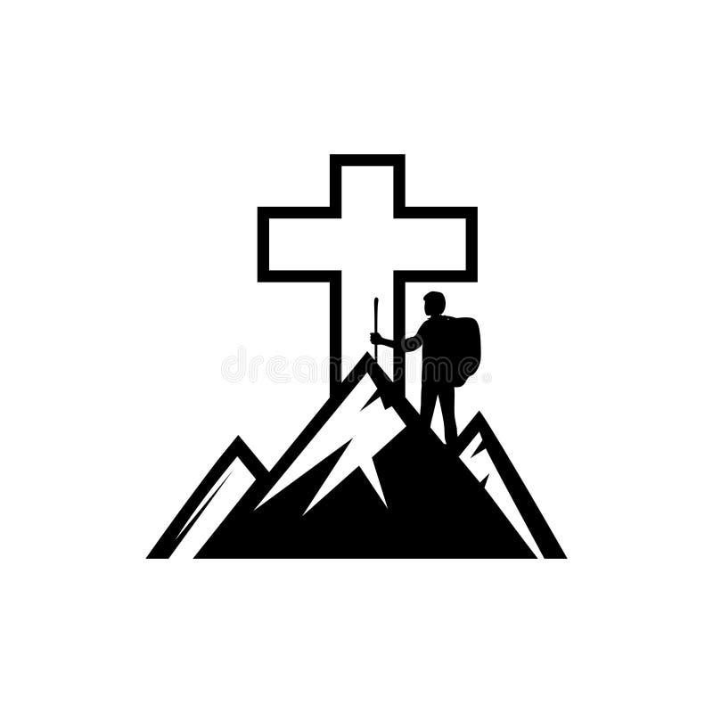 Christelijke illustratie De man op de berg gaat naar het kruis van Jesus Christ royalty-vrije illustratie