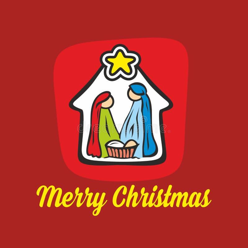 Christelijke illustratie De scène van de geboorte van Christus Vrolijke Kerstmis vector illustratie