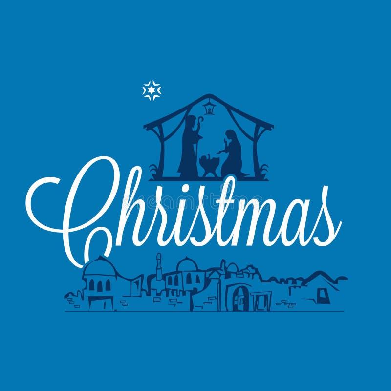 Christelijke illustratie De scène van de geboorte van Christus Vrolijke Kerstmis royalty-vrije illustratie