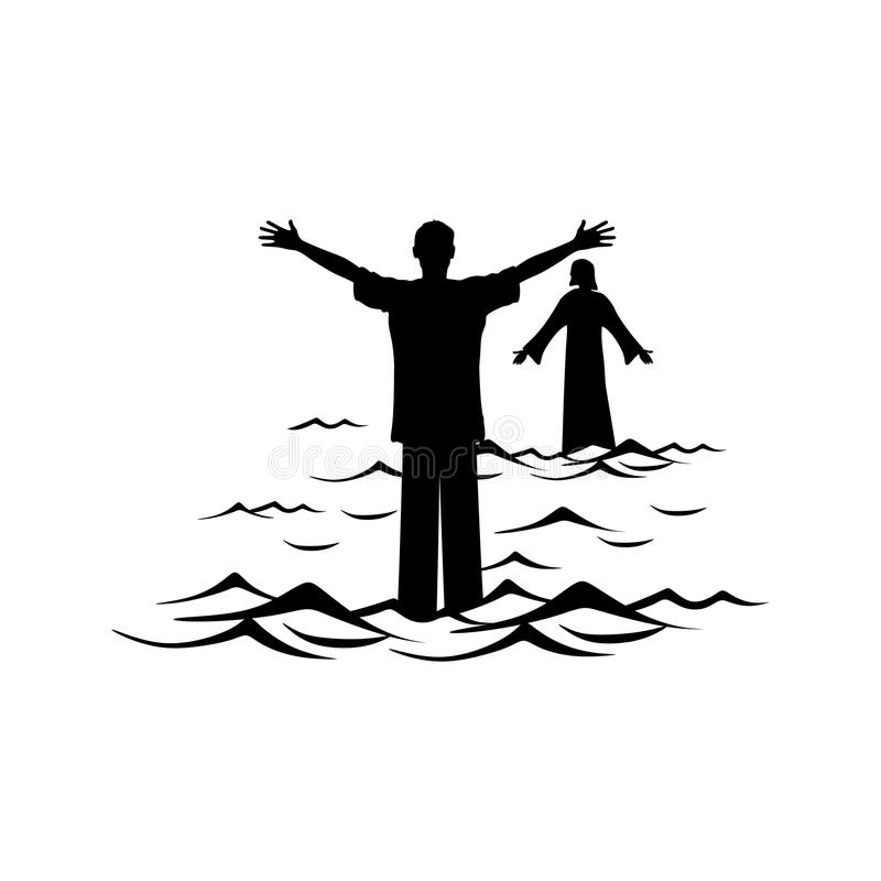 Christelijke illustratie Een mens loopt het water naar Jesus Christ stock illustratie