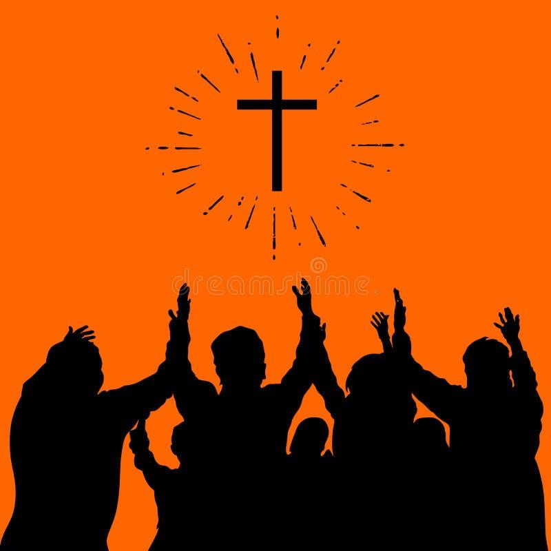 Christelijke illustratie Groepsverering, opgeheven handen, lof royalty-vrije illustratie