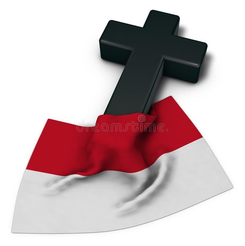 Christelijke kruis en vlag van Monaco vector illustratie